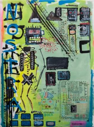 Kapoth. Bike Map, 2016. Acrylic and spray on linen canvas. 147 × 109 cm.