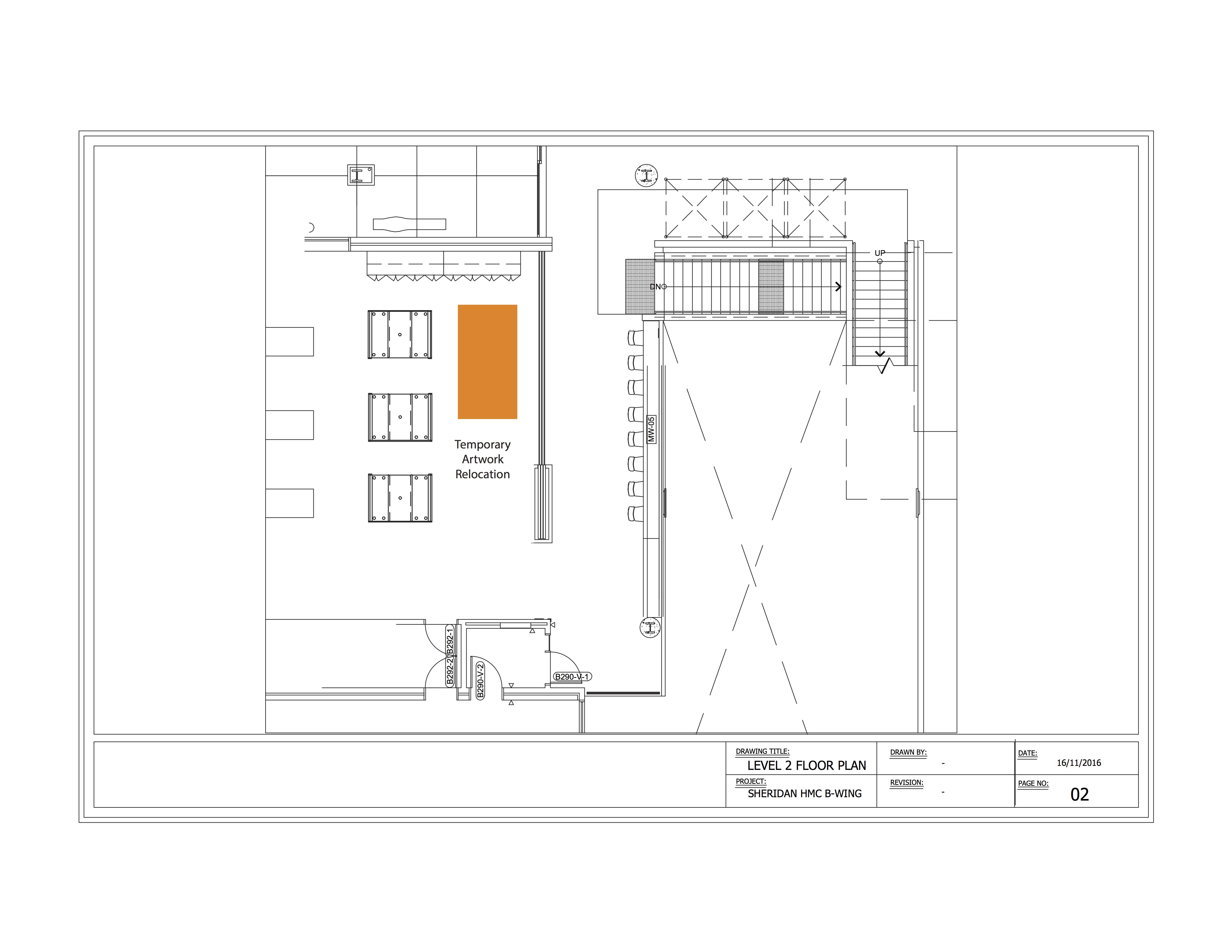 Possible Temporary Artwork Relocation Area, Level 2 Floorplan, Sheridan HMC B-Wing