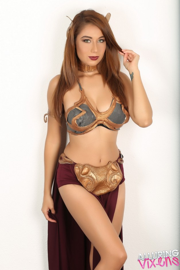 Stunning Alluring Vixen babe Lilly dresses up in her Slave Leia costume for Halloween