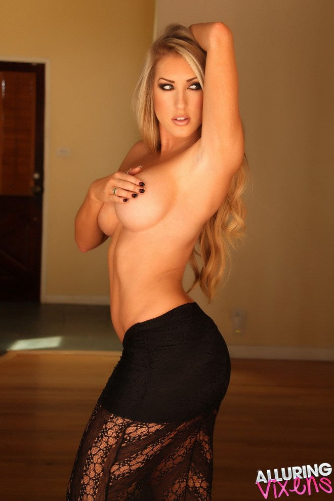 Busty blonde Alluring Vixen babe Summer teases topless in just her black lace skirt