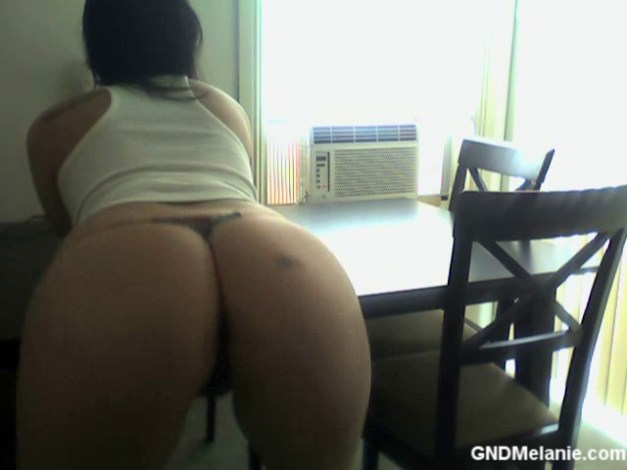 Watch as perfect girl next door Melanie shakes her big juicy ass in a very skimpy g-string