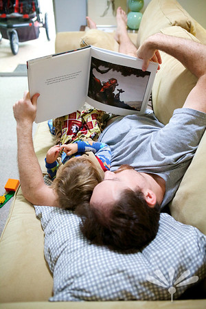 Charlie and Jamie reading Otis