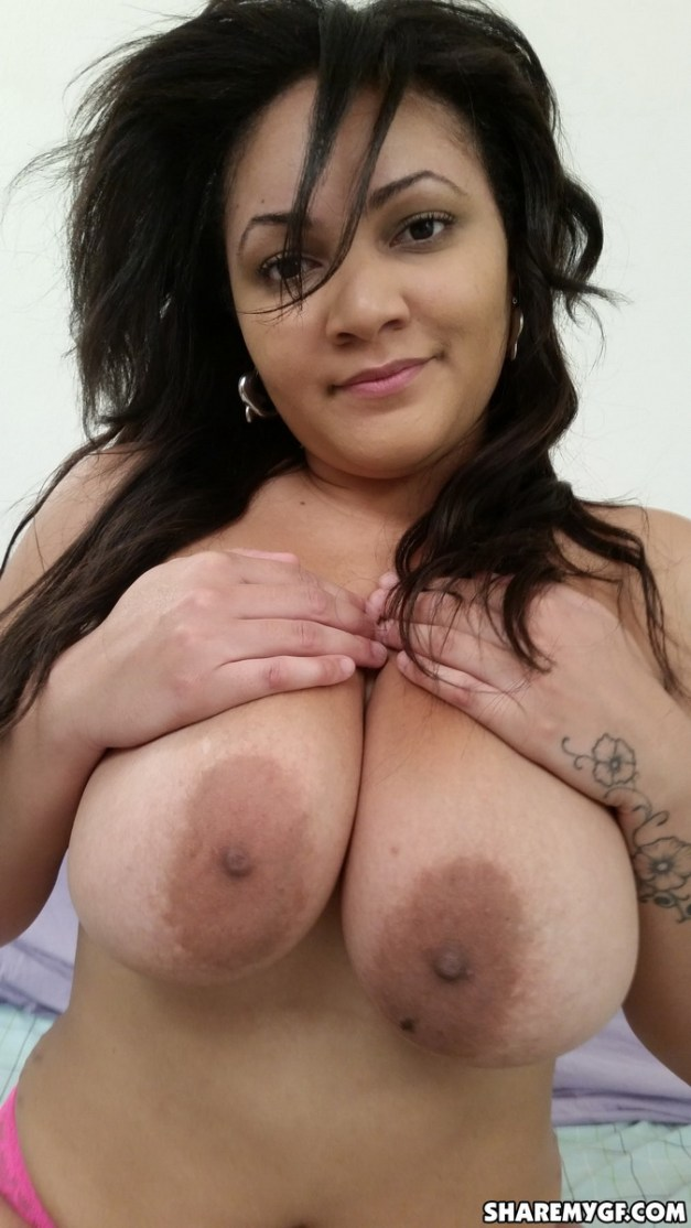 Busty chubby girlfriend shows off her big natural tits as she gets naked and plays with her wet pussy