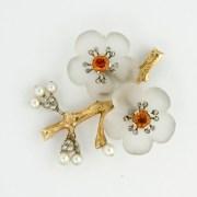 Rock Crystal Zircon Floral Brooch