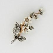 Diamond Pearl Enamel Brooch