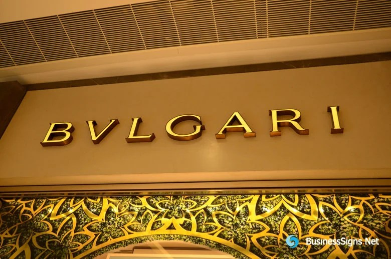 3D LED Front Lit Signs With Brushed Gold Plated Letter