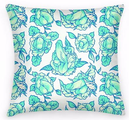 Penis Floral Pattern PIllow
