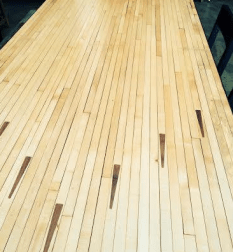 Repurposed bowling alley table