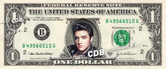 Elvis Presley on a one dollar bill