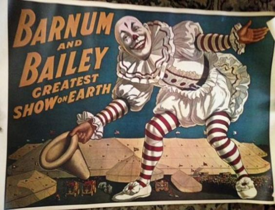 Barnum and Bailey Greatest Show on Earth scary clown poster
