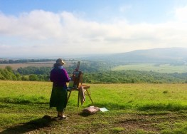 Sarah Jane Brown painting in Sussex. The South Downs from the top of Arundel Park Estate.