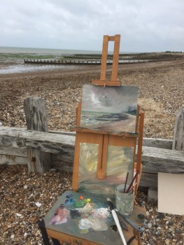 Sarah Jane Brown painting at Climbing Beach, Sussex