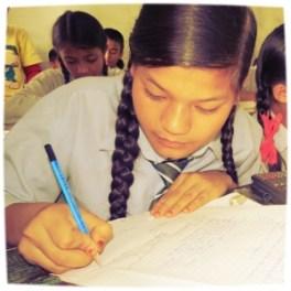 Dikshya taking an exam