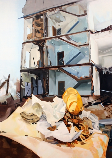 "image credit: Kastner, Demolition, 84""x 60"", oil on canvas, 2012."