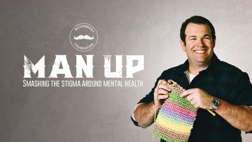 Man knitting on mental health day