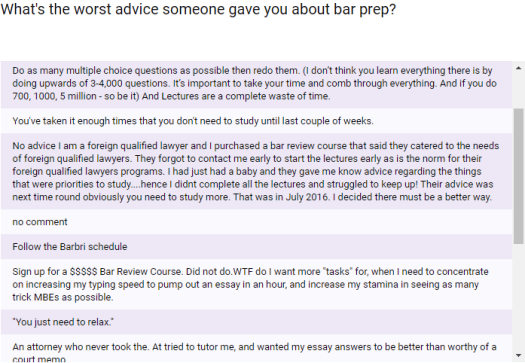 What's the worst advice someone gave you about bar prep?