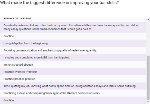 """What made the biggest difference in improving your bar skills? What's the one non-negotiable bar exam study strategy? """"Practice"""""""