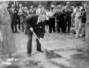 Eleanor and LBJ planting trees!