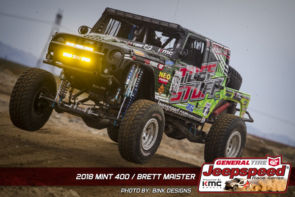 Jeepspeed, Brett Maister, Tuff Stuff 4X4, General Tire, KMC Wheels, GG Lighting, Bink Designs, The Mint 400