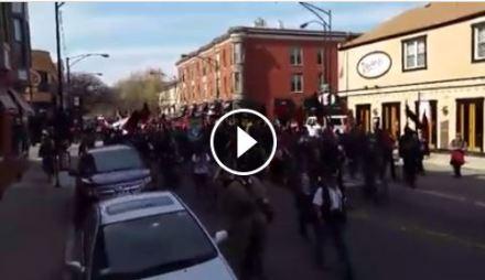 Marching toward 26th & Cal Jail