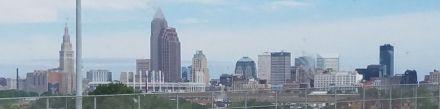 Cleveland skyline from the megabus