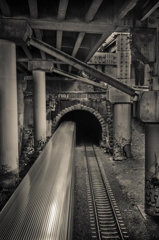 Train Below Freeway