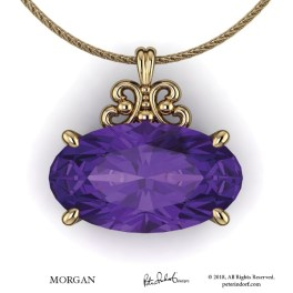 Large oval amethyst set in a scroll accented frame in 14KYG pendant.