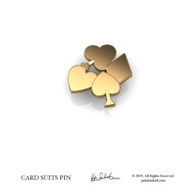 The suits of cards in a grouping as a lapel pin in gold.