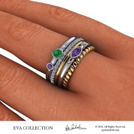 Five band stacking ring set with colored gemstones in 18KYG.