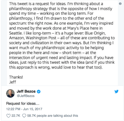 Jeff Bezos tweet about charity