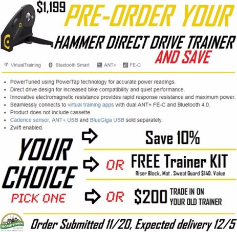 Hammer Direct Drive Trainer Pre-Order promotion at Hometown Bicycles
