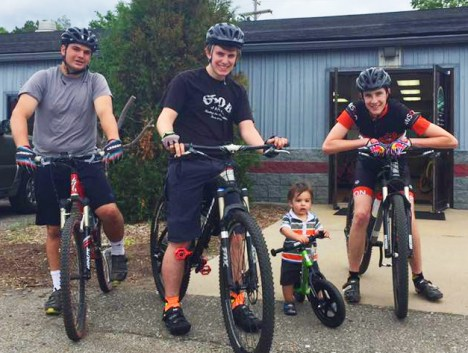 Liam and the Hometown Bicycles Service Crew heading out for a mountain bike ride