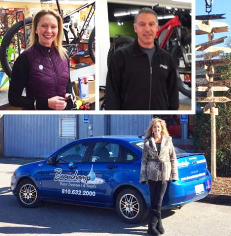 Jenny Schild of Body Within Personal Training, Vinnie Baylerian of Pro-Motion Physical Therapy, and Sandy of Beauchamp Water Treatment and Supply at Hometown Bicycles Fall Extravaganza