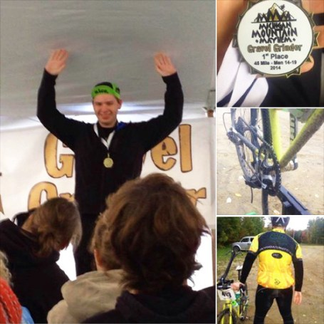 Tim Bart of Hometown Bicycles wins the Michigan Mountain Mayhem Gravel Grinder Bicycle Race