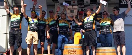 Team Hometown Bicycles taking first place at Barry Roubaix 2016