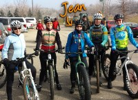 Jean Steinberg riding the Jamis Roughneck with friends