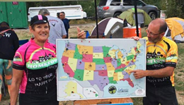 Team Hometown Bicycles cyclists with United States map