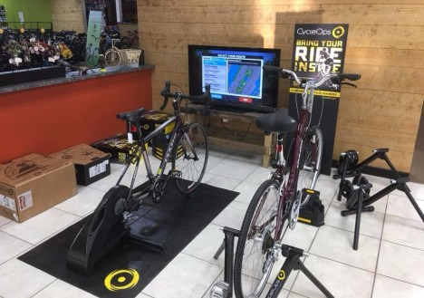 Cycle-Ops Bicycle trainers set up at Hometown Bicycles