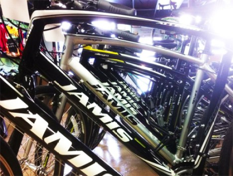 Jamis bicycles lined up at Hometown Bicycles