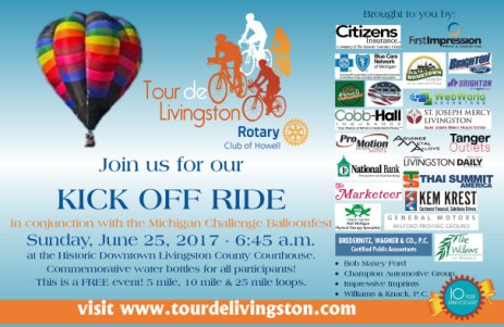 Tour de Livingston Kick Off Ride flier