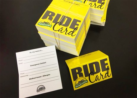 Hometown Bicycles Ride Cards - emergency contact rider information cards