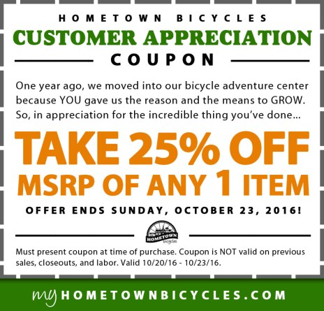 Hometown Bicycles Customer Appreciation Coupon