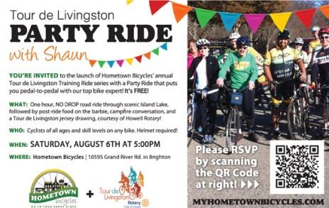Tour de Livingston Party Ride with Shaun flier