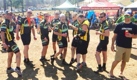 Team Hometown Bicycles showing a little leg at Mud, Sweat and Beers in Traverse City, Michigan
