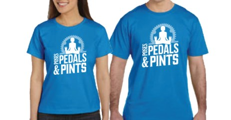 Poses, Pedals and Pints tshirts