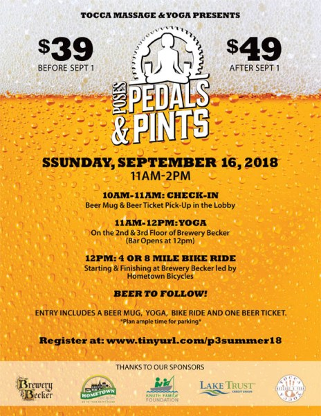 Poses Pedals and Pints 2018
