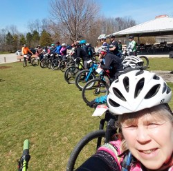 Team Hometown Bicycles member, Jean Steinberg, coaching MiSCA coaches in East Grand Rapids
