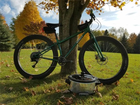 Fat bike with crockpot for Hometown Bicycles