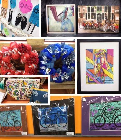 Local artists bicycle art at Hometown Bicycles