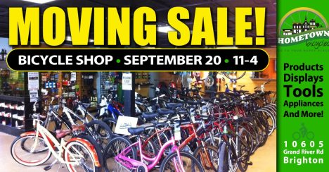 Bicycle Shop Moving Sale September 20, 2015 at Hometown Bicycles in Brighton